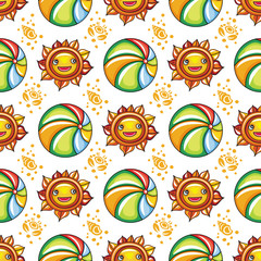 Vector summer pattern. Seamless texture with hand drawn doodle vacation objects:  cute little sun with smiling face and colorful beach ball, ocean waves, silhouette of seashells and crabs.