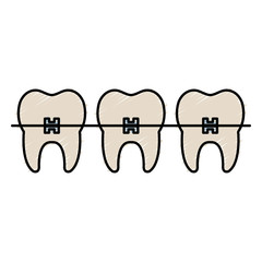 tooth with brakets isolated icon vector illustration design