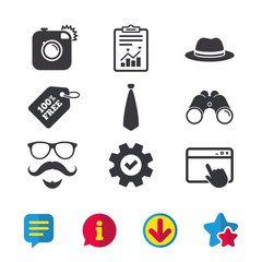 Hipster photo camera. Mustache with beard icon. Glasses and tie symbols. Classic hat headdress sign. Browser window, Report and Service signs. Binoculars, Information and Download icons. Vector