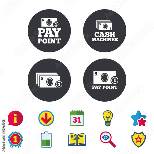 Cash and coin icons  Cash machines or ATM signs  Pay point