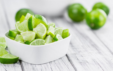 Sliced Limes (selective focus, close-up shot)