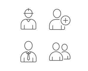 Users Group, Engineer and Businessman line icons. Add Person symbol. Quality design elements. Editable stroke. Vector