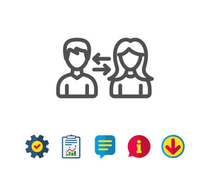Teamwork line icon. Users communication. Male and Female profiles sign. Person silhouette symbol. Report, Service and Information line signs. Download, Speech bubble icons. Editable stroke. Vector
