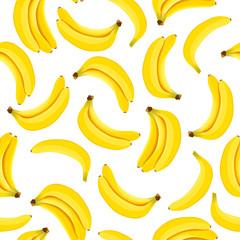 Yellow Banana seamless pattern. Ripe bananas isolated on white background