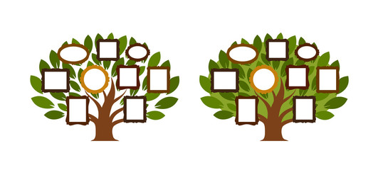 Family tree, genealogy icon or logo. Cartoon vector illustration