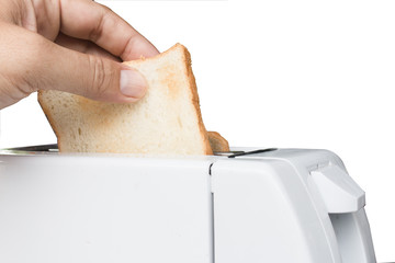 Hand pick bread from toaster on white background
