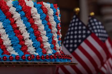Close up of red white blue frosted cake for USA holiday