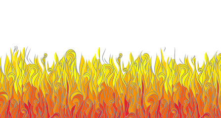 Graphic abstract fire. bottom page. illustration. vector.