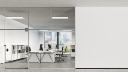 Blank wall in modern office