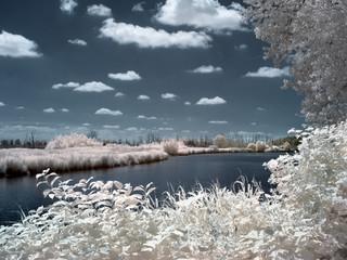Flusslauf der Oste, Niedersachsen, Infrarotaufnahme