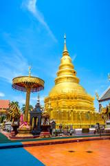 Wall Mural - Wat Phrathat Hariphunchai Temple, Golden pagoda in Lamphun,Thailand.