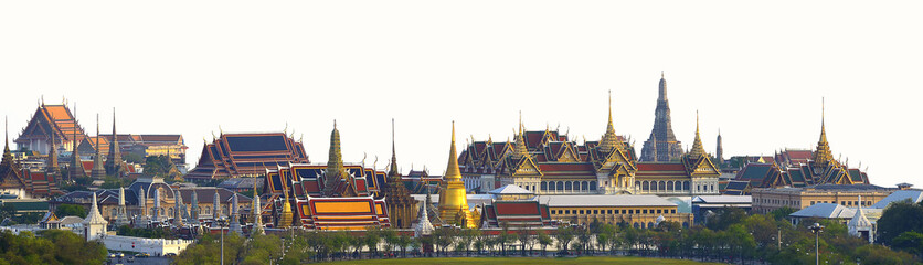 Poster Bangkok Wat pra kaew, Grand palace Temple of the Emerald Buddha full official name Wat Phra Si Rattana Satsadaram is travel destination in Bangkok ,Thailand on white background.