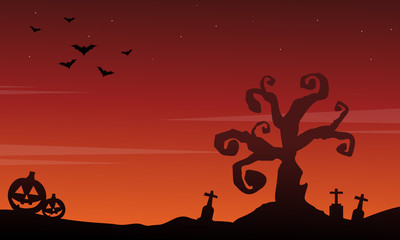 Halloween scenery silhouette style background