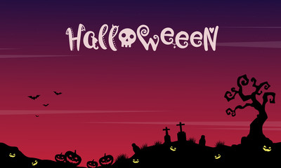 Landscape Halloween with grave background
