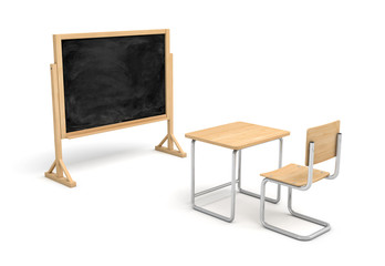 3d rendering of a new wooden school desk and a chair in front of a blank chalkboard on a wooden stand.