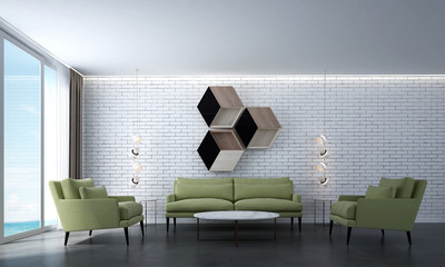 The interiors design of modern lounge and living room and white brick wall and sea view