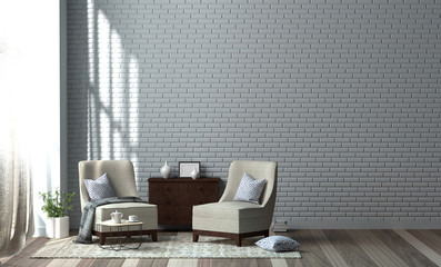 Minimalist room interior with armchair plant in front of clean walls 3D Rendering modern living room style