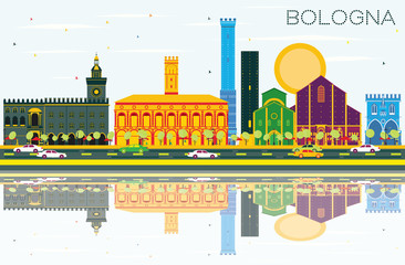 Bologna Skyline with Color Landmarks, Blue Sky and Reflections.