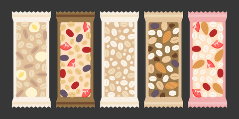 cereal and granola bar, nuts, dry fruits such as strawberry, cherry, macadamia nut, peanut, almond, pumpkin seed, oat, wheat in transparent packaging, flat design vector