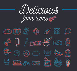 Delicious food icons set overlap infographic design.vector