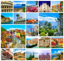 Collage from photos of Italy on white background