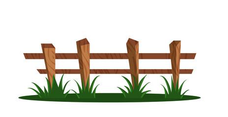 Wooden fence. Vector cartoon illustration.