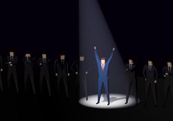 Businessman spotlight human resource recruitment candidate