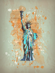 Liberty, New York, Manhatten - USA, America - Vintage, Retro, Grunge Art Work