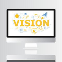 Vision icon on computer screen illustration