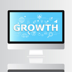 Growth icon on monitor infographic and illustration design