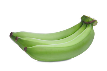 green raw banana isolated on white background