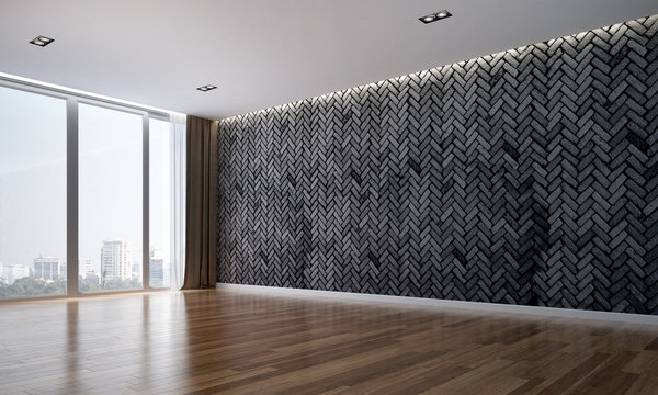The interiors design of empty room and black brick wall pattern background