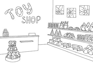 Toy shop graphic black white interior sketch illustration vector