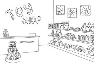 Toy shop graphic black white interior sketch illustration vector
