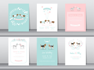Set of wedding invitation cards,poster,template,greeting cards,animals,dog,Vector illustrations