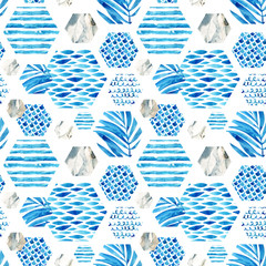 Abstract textured hexagon shapes seamless pattern