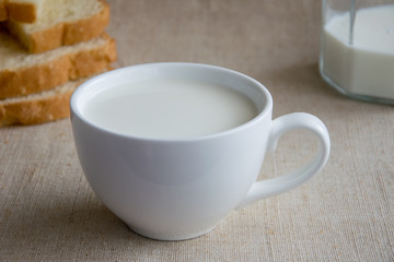 A cup of milk and pieces of white bread.
