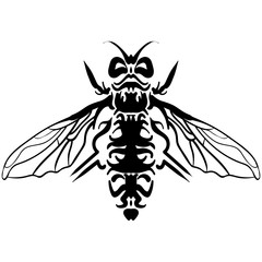 Hand drawn sketch of fly Black and white Tattoo