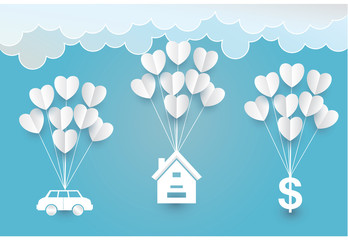 Paper art  heart house car cloud  in the sky concept, vector and