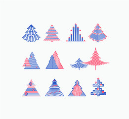 Vector set of graphical color Christmas tree icons, signs, symbols. Xmas decorations.