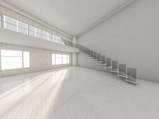 Abstract modern architecture background, empty white open space interior. 3D rendering
