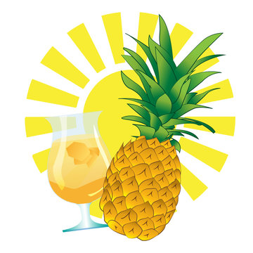 pineapple drink juice and sun
