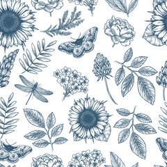 Floral seamless pattern. Linear sketchy style flower elements. Vintage fabric design. Vector illustration