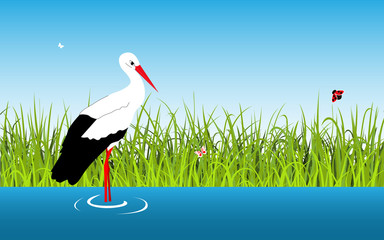 Cartoon vector landscape with stork and lake