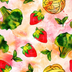 Seamless pattern of watercolour vegan food themed drawings