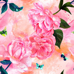 Seamless pattern with pastel watercolor roses and butterflies