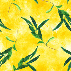 Seamless pattern with watercolor olive branch on golden