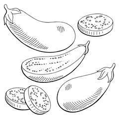 Eggplant graphic black white isolated sketch illustration vector
