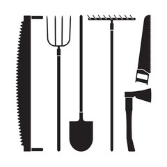 Gardening tools collection, vector silhouette