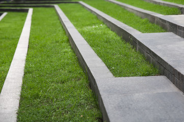 grass line on concrete